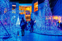 Illuminations light up at Caretta shopping mall in Odaiba, Tokyo. TOKYO, JAPAN - NOVEMBER 27 2015: Illuminations light up at at Caretta shopping mall in Shiodome royalty free stock images
