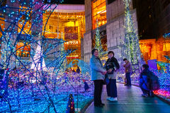 Illuminations light up at Caretta shopping mall in Odaiba, Tokyo Stock Images