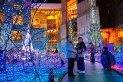 Illuminations light up at Caretta shopping mall in Odaiba, Tokyo. TOKYO, JAPAN - NOVEMBER 27 2015: Illuminations light up at at Caretta shopping mall in Shiodome stock images