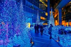 Illuminations light up at Caretta shopping mall in Odaiba, Tokyo. TOKYO, JAPAN - NOVEMBER 27 2015: Illuminations light up at Caretta shopping mall in Shiodome royalty free stock photos
