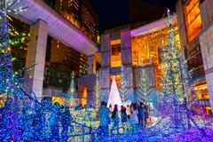 Illuminations light up at Caretta shopping mall in Odaiba, Tokyo. TOKYO, JAPAN - NOVEMBER 27 2015: Illuminations light up at Caretta shopping mall in Shiodome stock images