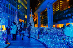Illuminations light up at at Caretta shopping mall in Shiodome district, Odaiba, Japan Royalty Free Stock Photos