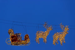 Illuminations reindeer with sleigh for Santa Royalty Free Stock Photos