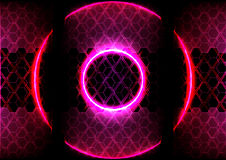 Illuminazione del cerchio e tecnologia astratte del fondo di esagono Immagine Stock