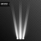 Illuminazione del riflettore, luce intensa, fase, vettore del podio trasparente fotografia stock