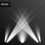 Illuminazione del riflettore, luce intensa, fase, vettore del podio trasparente immagini stock