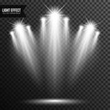 Illuminazione del riflettore, luce intensa, fase, vettore del podio trasparente immagine stock libera da diritti