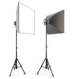 Illuminazione dello studio isolata sui precedenti bianchi Casella molle 3d Immagine Stock