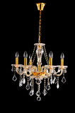 Illuminazione di cristallo dorata Fotografie Stock