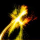 Illuminazione di filatura di frattale astratto con le linee gialle ed arancio fotografia stock libera da diritti