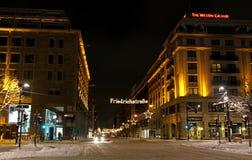 Illuminazione di Natale della via a Berlino Fotografia Stock