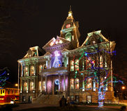 Illuminazione di natale di Cambridge Ohio fotografia stock libera da diritti