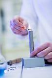 Illuminazione femminile del ricercatore su un bruciatore Immagine Stock
