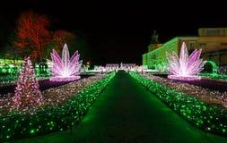 Illuminazioni di Natale nel parco in Wilanow fotografia stock libera da diritti