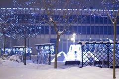 Illuminazioni nell'inverno nel 'di PuÅ awy, alberi accesi, Polonia, 01 di Natale 2013 Immagine Stock