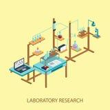 Illus вектора дизайна стиля лабораторных исследований химическое равновеликое Стоковая Фотография RF