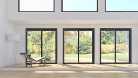 Illus brillante moderno de la representación de la sala de estar 3D del apartamento de los interiores foto de archivo libre de regalías