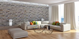 Illus brillante moderno de la representación de la sala de estar 3D del apartamento de los interiores imagenes de archivo