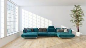 Illus brillante moderno de la representación de la sala de estar 3D del apartamento de los interiores fotos de archivo