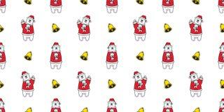 Illus de caractère de papier peint de fond de tuile d'isolement par bande dessinée sans couture de nounours de Santa Claus Hat de illustration stock