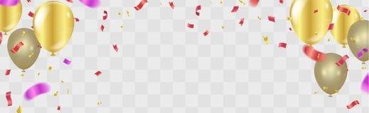 Illus di vettore del fondo di celebrazione dei coriandoli dell'oro di buon compleanno royalty illustrazione gratis