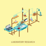 Illus isométrico químico del vector del diseño del estilo de la investigación del laboratorio Fotografía de archivo libre de regalías