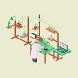 Illus isométrico químico del vector del diseño del estilo de la investigación del laboratorio stock de ilustración