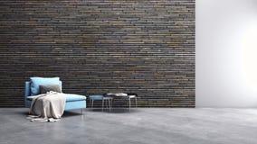 Illus lumineux moderne de rendu du salon 3D d'appartement d'intérieurs image stock