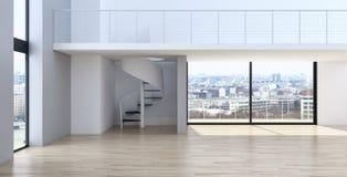 Illus luminoso moderno della rappresentazione del salone 3D dell'appartamento degli interni fotografie stock