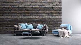 Illus luminoso moderno della rappresentazione del salone 3D dell'appartamento degli interni illustrazione di stock