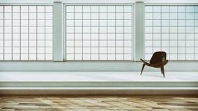 Illus luminoso moderno della rappresentazione del salone 3D dell'appartamento degli interni fotografia stock libera da diritti