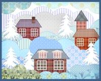 Illus retro de la imagen del invierno de la naturaleza del remiendo de la Navidad del fondo Imágenes de archivo libres de regalías
