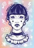 Illusatration de uma menina gótico místico sem olhos arte finala Alto-detalhada do vetor isolada Sinais da garatuja ao redor Brux ilustração stock