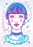 Illusatration de una muchacha gótica mística sin los ojos ilustraciones Alto-detalladas del vector en estilo linear aisladas Bruj stock de ilustración