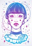 Illusatration of a mystic gothic girl without eyes. High-detailed vector artwork in linear style isolated. Beautiful witch. Spiritually trendy illustration stock illustration