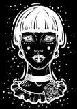 Illusatration van een mysticus gotisch meisje zonder ogen Hoog-High-detailed vectorkunstwerk in lineaire geïsoleerde stijl Mooie  vector illustratie