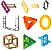 Illusies (onwerkelijke voorwerpen) Stock Afbeeldingen