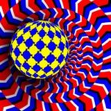 Illusievector Optisch 3d Art. Motie Dynamisch Effect Optisch effect Wervelingsillusie Geometrische Magisch van de hypnosedenkfout vector illustratie