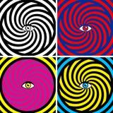 Illusion. Set of four bright hypnotic Poster vector illustration