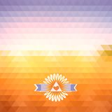 Illusion dawn of triangles. Abstract bright background of triangles. The illusion of dawn. Geometric shapes. Place text on top Royalty Free Stock Image