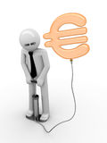 Illusion of a euro: man pumping a euro sign Royalty Free Stock Photography