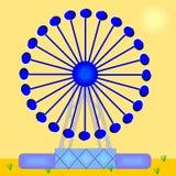 Illusion optique de grande roue avec les chariots mobiles illustration libre de droits