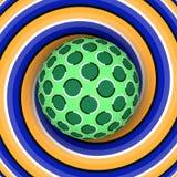 Illusion optique de la rotation de la boule dans la perspective d'une spirale mobile Photos libres de droits