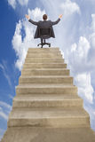 Illusion power. Walking on career ladder presence on top of the career ladder an Stock Image