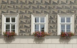 Illusion rustic wall, windows and flower boxes Stock Photo