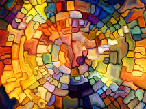 Illusion of Stained Glass. Stained Glass Pattern series. Abstract arrangement of virtual stained glass fragments suitable as background for projects on art Stock Image