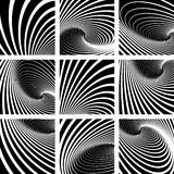 Illusion of vortex motion. Backgrounds set. Illusion of vortex motion. Abstract backgrounds set.  Vector art Royalty Free Stock Photography