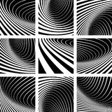 Illusion of whirl movement. Abstract backgrounds set. Royalty Free Stock Image