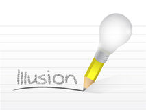 Illusion written with a light bulb idea pencil Royalty Free Stock Images