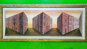 Illusione ottica di costruzione Fotografia Stock